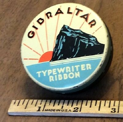 Vintage Gibraltar Brand Advertising Typewriter Ribbon Tin,