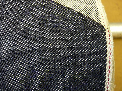 5mts SUPERIOR QUALITY 12.8oz 100%COTTON RED SELVEDGE DENIM DARK INDIGO 81cms