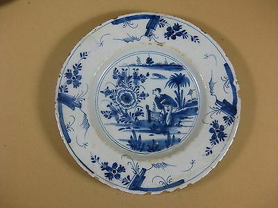 Antique Dutch Delft 18th C Plate With Chinese Decoration