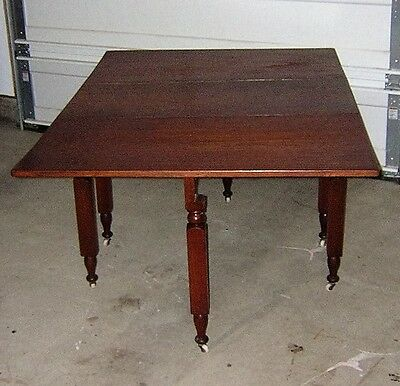 Antique Cherry Wood Gate Leg Drop Leaf Victorian Folding Dinning Room Table