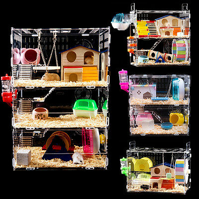 Acrylic Hamster Cage Clear 1-3 Layer Mouse Castle Rat House Toy Bed Feeder Wheel