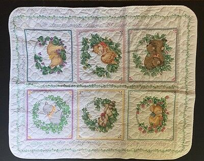 "New Finished Baby Quilt Cross Stitch Blanket Sleeping Baby Animals 40""x34"""