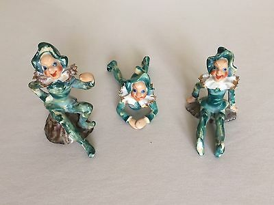 Vintage Pixie Elf Figurines Made In Occupied Japan Green White Gold Lot Of 3