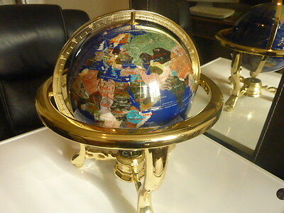 "Gemstone World Globe Hand Made Craftsmanship Table Desk 14"" HIGH"