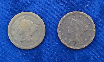 1847/1848 Large Cent Braided Hair Lot Of Two Coins