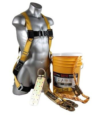Rooftop Safe Tie Bucket Kit Roofing Safety System Harness Kit 50 ft Worker G