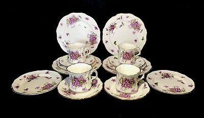 Hammersley Victorian Violet Tea Set For 4 With 2 Size Plates 16 Pieces England