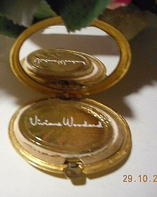 Vintage Vivian Woodard gold tone bronze  compact with mirror, heavy from 1960's