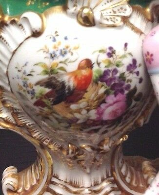 20% OFF Antique 19th Century Old Paris Porcelain Vase w Bird, Dog & Gentleman