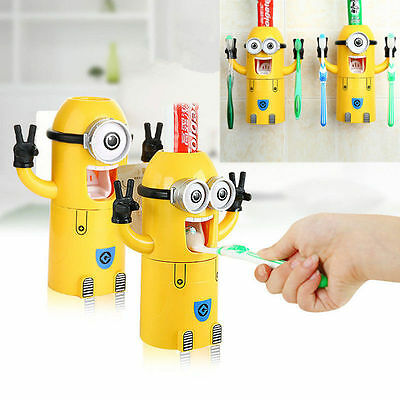 Toothbrush Holder Set Minions Automatic Toothpaste Dispenser Kids Yellow Cute
