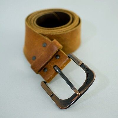 True Vintage Men's Worn Distressed Brown Leather Belt Medium Large 34 36 38 40