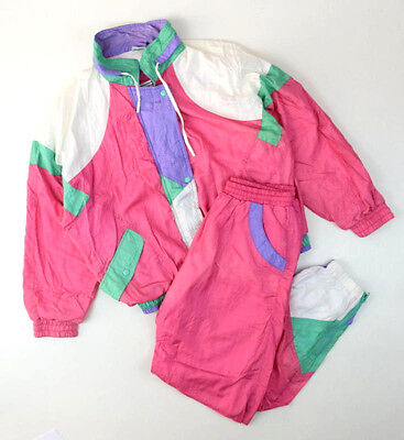 Vtg 80s Pink Green Nylon Warm Up Track Suit Windbreaker Jacket & Pants Set Sz L