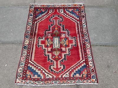 Old Traditional Persian Rug Wool Red Oriental Rug Hand Made Small Rug 105x80cm