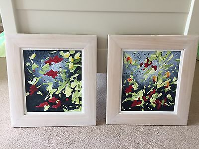 2 x MODERN ART ABSTRACT PAINTING ON CANVAS by Helen Thomas of Wakefield