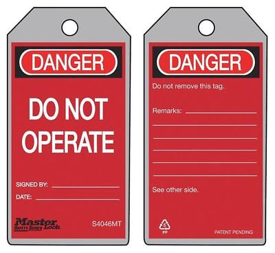 "Metal Detectable Danger Tag, Master Lock, S4046MT, 5-3/4""Hx3""W"