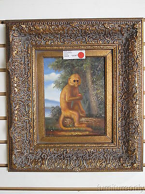 F35147: Antiqued Gold Framed Oil Painting on Board - Monkey with Apple on Log
