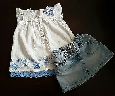 girls 18-24 months floral outfit tunic top next skirt summer clothes denim