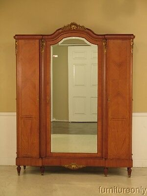 F41279E: Antique Large French Louis XV Inlaid Walnut Armoire