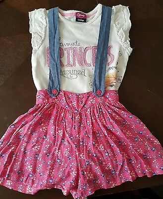 girls 18-24 months t-shirt top & floral dungaree shorts bundle summer set next