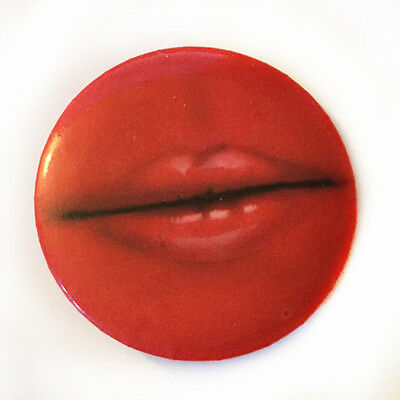 Vintage Lisa Frank pin Red Lips Pinback Button 1980
