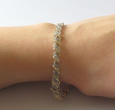 Secondhand 9ct Yellow Gold Multi Diamond Swirl Bracelet (7 1/2 inches).