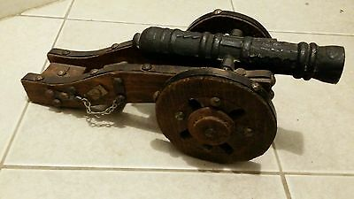 Vintage Metal and Wood Cannon Model Mexico Souvenir Folk Art Hand Made Toy ?