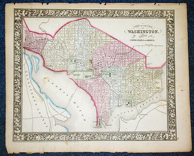 Rare Original 1860 Mitchell Map  CITY OF WASHINGTON Plans  Presidents House