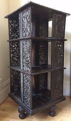 Stunning Antique Ebony/Dark Wood Revolving Bookcase, w intricate Asian carvings