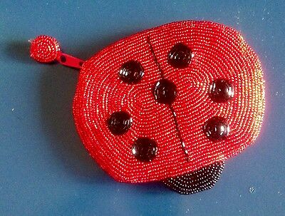 Beaded Red & Black LADYBUG COIN PURSE Zippered Change Pouch Bag Case