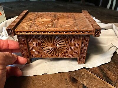 Chip Carved or Pressed Miniature Box