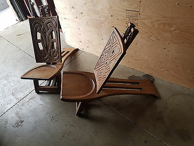 Wooden chairs, deck type, hand carved
