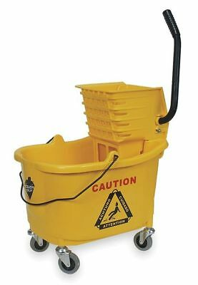 TOUGH GUY 2PYH4 Mop Bucket and Wringer, Yellow, Side Press