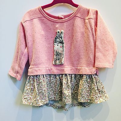 Next Baby Girl Floral Bunny Jumper Dress 6-9