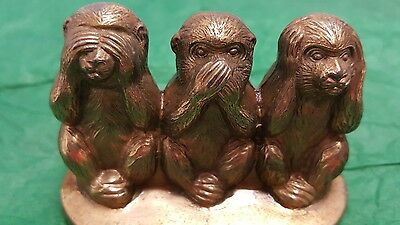Vintage SEE SPEAK HEAR NO EVIL Monkey Figurine Miniature Metal