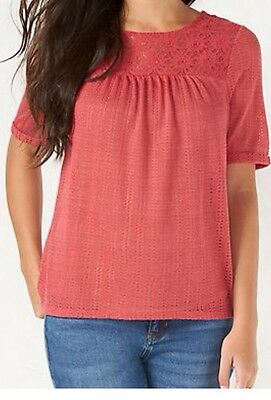 48931b9b45d LC Lauren Conrad Runway Women Lace Yoke Elbow Sleeve Top Tee Blouse X Small  NWT