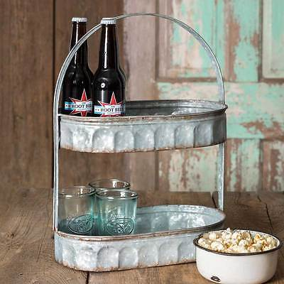 Industrial Galvanized Replica 2 Tiered Corrugated Oval Tray Strap Handle  530038