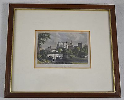Antique Framed Small Colour Print Of Alnwick Castle, Northumberland