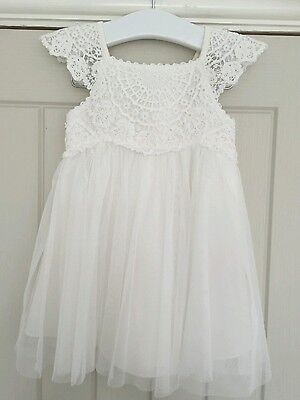 AX. Monsoon Baby Girls Pretty ivory occasion christening Dress Age 0-3 Months
