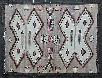 """1930's Navajo Indian Crystal Graphic Rug Bold Design W/Feathers Etc. 46"""" x 35"""""""