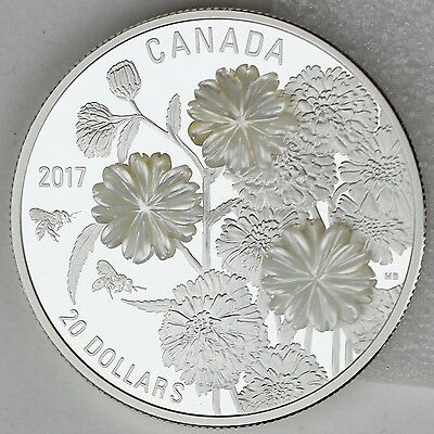 2017 $20 Pearl Yarrow Flowers 99.99% Pure Silver Proof with Mother of Pearl