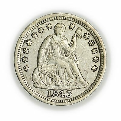 1843 Seated Liberty Half Dime, Small Silver Coin [3127.86]