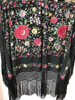 Gorgeous Antique  Black Embroidered Silk Piano Shawl
