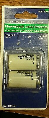 (CJ) Leviton 12410 Fluorescent Lamp Starters 2pk (FS-4, White) Box of 2