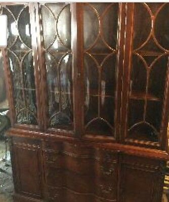 antiques, mahogany China closet, double width almost 70 years old. One family