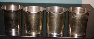 Vintage silver mint julep cups set of 4 Silverplate silver plate Heavy