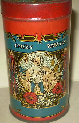 vtg French  SPICE Tin RABELAIS  great BUTCHER & PIG Graphic