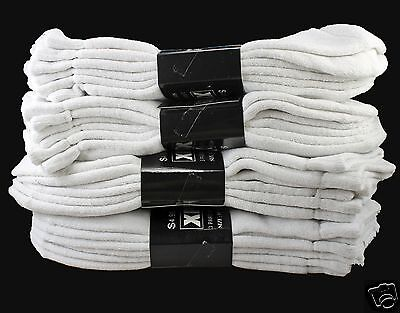New 12 Pairs Mens Ankle Sports Low Cut Socks Cotton Cushioned Size 10-13 White