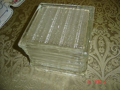 "Vintage Architectural Frosted Glass Blocks 8 x 8 x 4 (7 3/4"" x 7 3/4"" x 3 7/8"")"