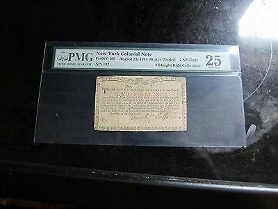 <C@@L> PMG Graded New York Water Works 2 Shillings 1774 VF 25 <C@@L>