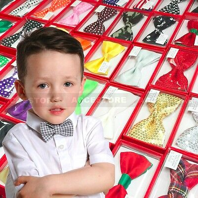 Children Kids Toddler Boys Girls Solid Colour Bowtie Pre Tied Bow Tie Party Prom